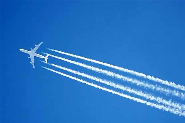 самолет, след, небо