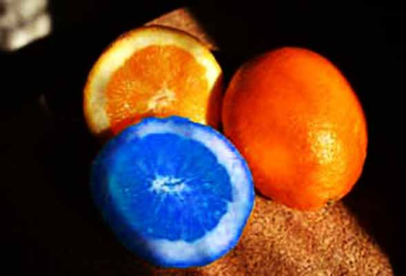 апельсин, покраска, синий, цвет